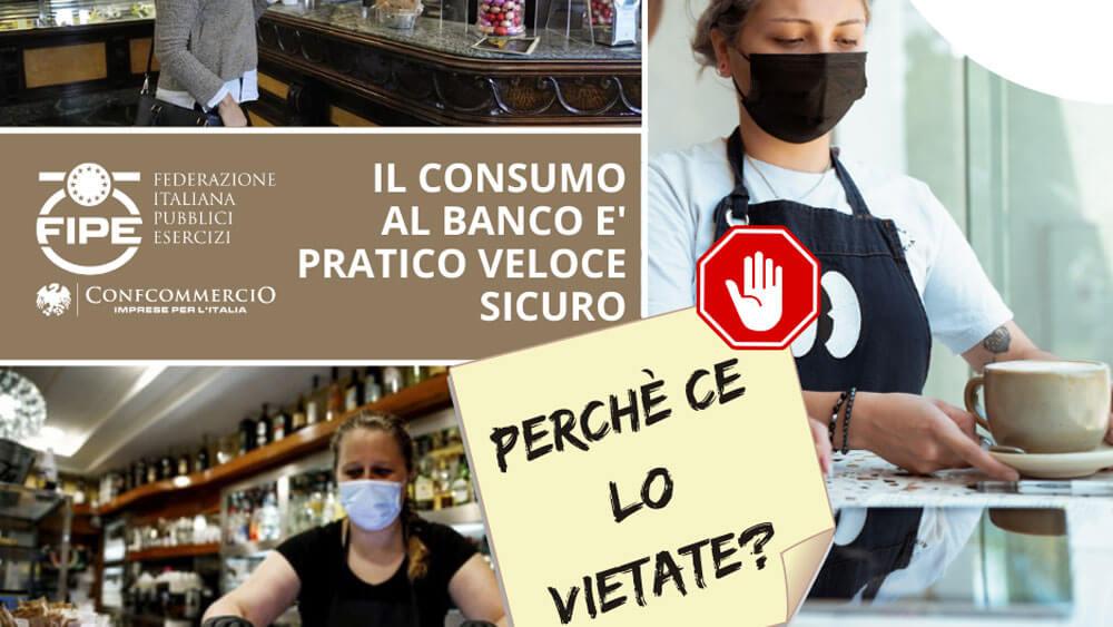 Consumazione al banco, nuova protesta Fipe in tutta Italia